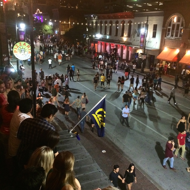 Party scene on Sixth Street in Austin, Texas