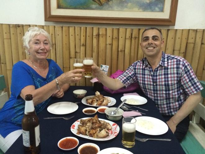 dinner at a restaurant in Chiang Mai Australia.