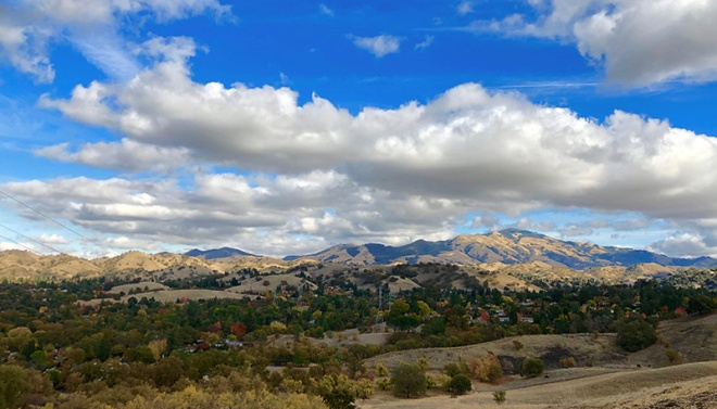 Mount Diablo with clouds looming from Shell Ridge